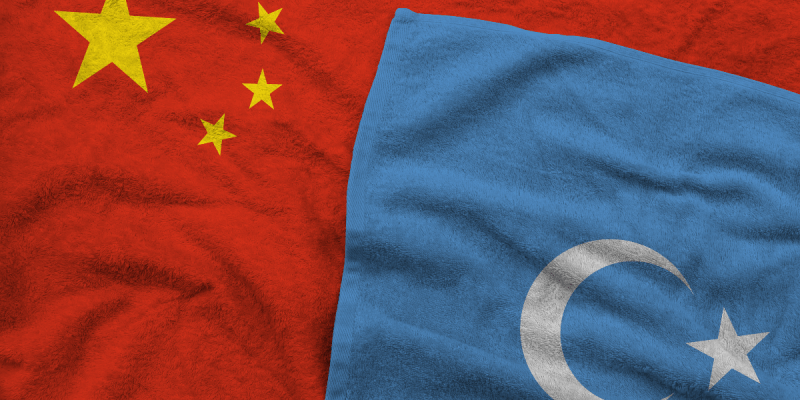 Chinese flag and Uyghur flag
